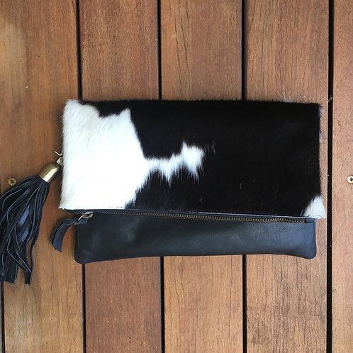 Hide Fold & Tassel Clutch/Bag