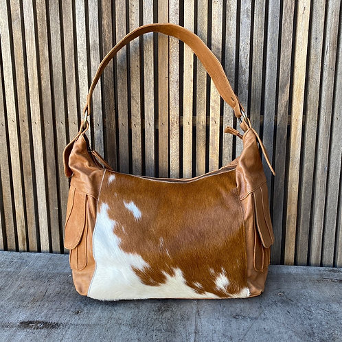 Hide and Leather Double Pocket Bag