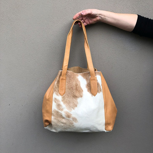 Hide and Leather Tote Bag