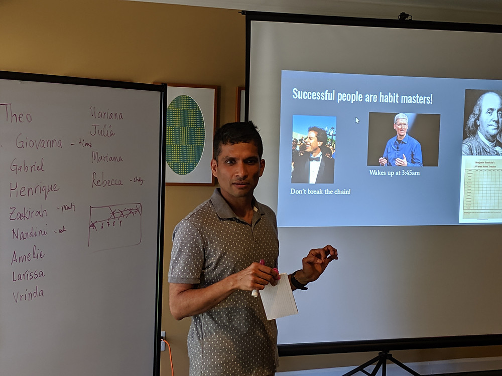 Yogeshwer Sharma, born in a small village in India with no running water and toilets, shares with students how small habits learned since childhood brought him to a PhD at Cornell University and to a position as an AI researcher at Facebook