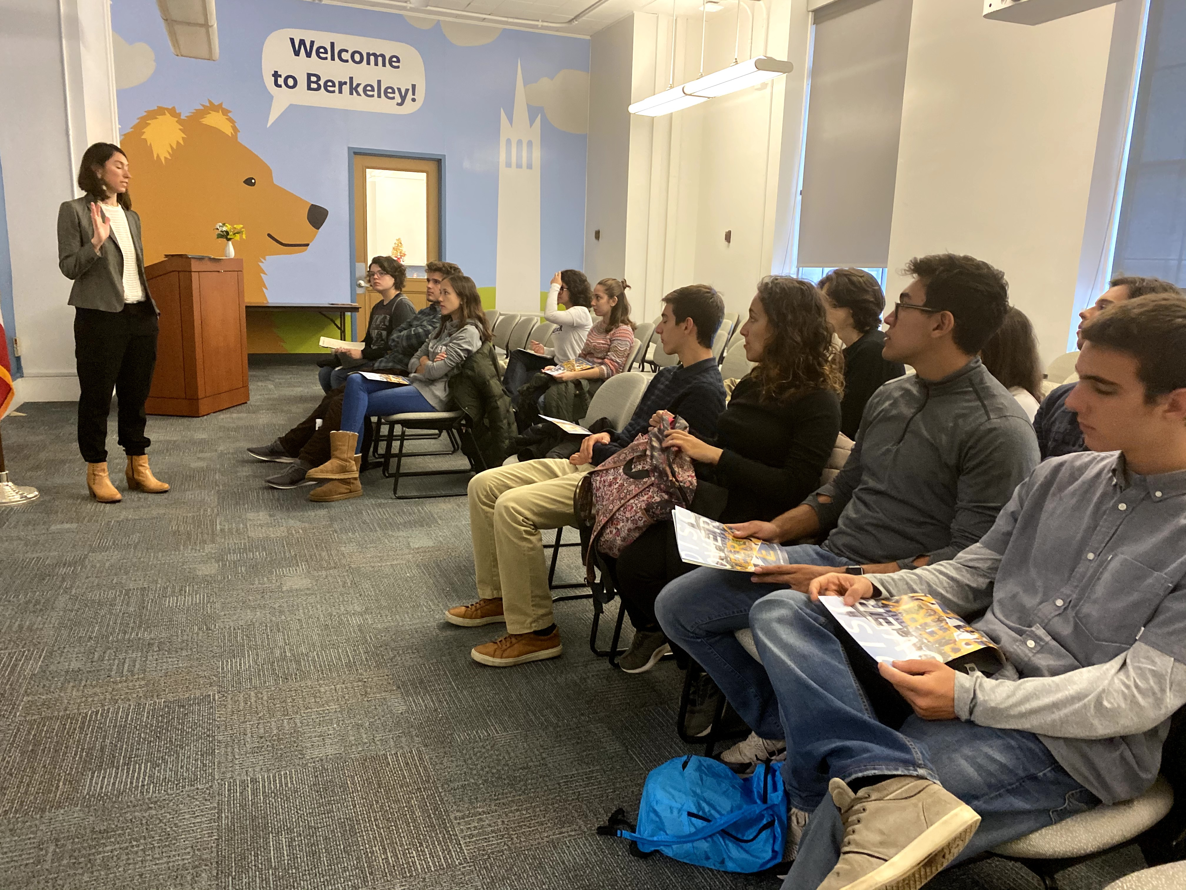 Our students listen to Marcia Breslin-Cantillana, assistant Director of Admissions at UC Berkeley