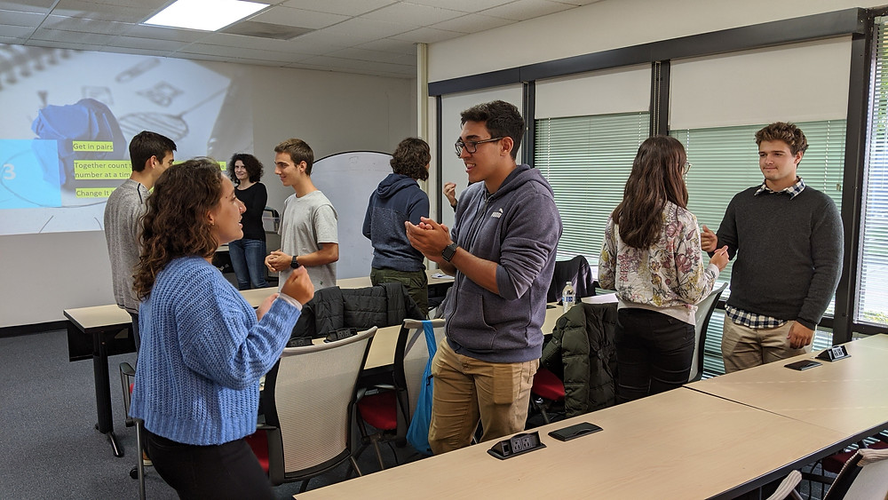 Students learn the basics of storytelling with Seamus Yu Harte from Stanford