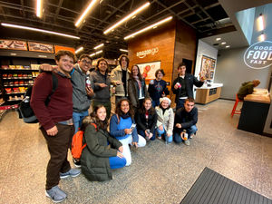 Students visit the cashierless Amazon Go Store