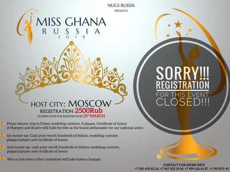 MISS GHANA RUSSIA 2019-BECOMING: REDEFINING BEAUTY - REGISTRATION CLOSED