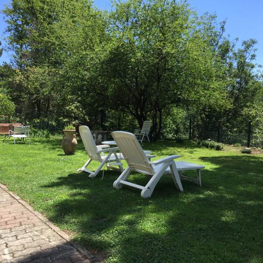 Prendere il sole nel fresco giardino