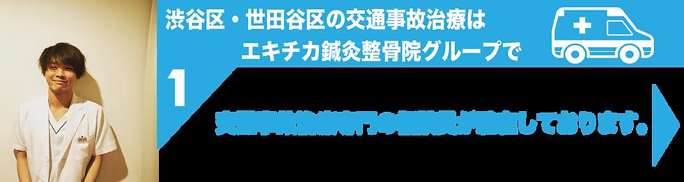 渋谷区・世田谷区の交通事故治療はエキチカ鍼灸整骨院グループで。交通事故治療専門の相談員が駐在しております。