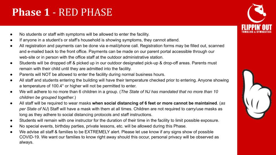 Flippin' Out - Phased Re-opening Plan 1