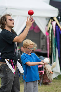 Circus workshop at The Fantasy festival in Cornwall