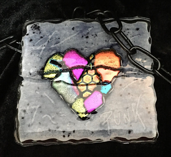 Heart of Glass dichroic art glass tile