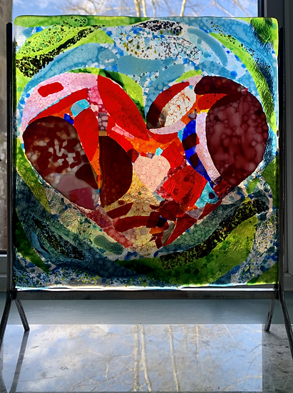 Heartfelt mosaic panel