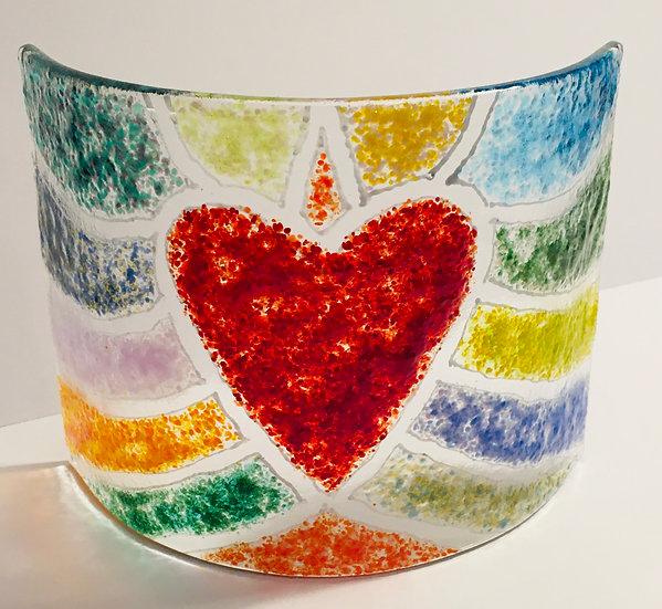 Rainbow Heart art glass curve