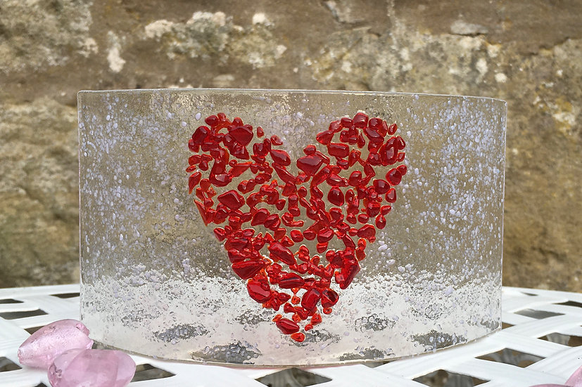 Mosaic Heart art glass curve