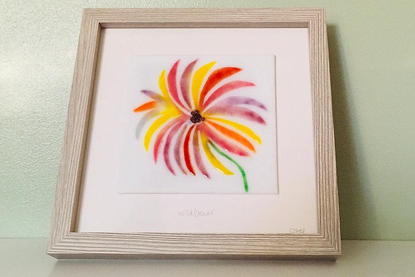 Wildflower Sunburst art glass panel