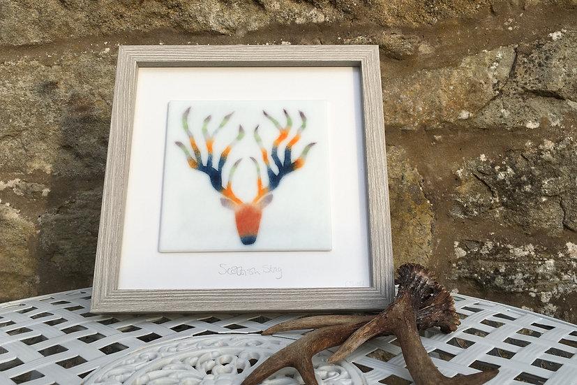 Harris Stag art glass panel
