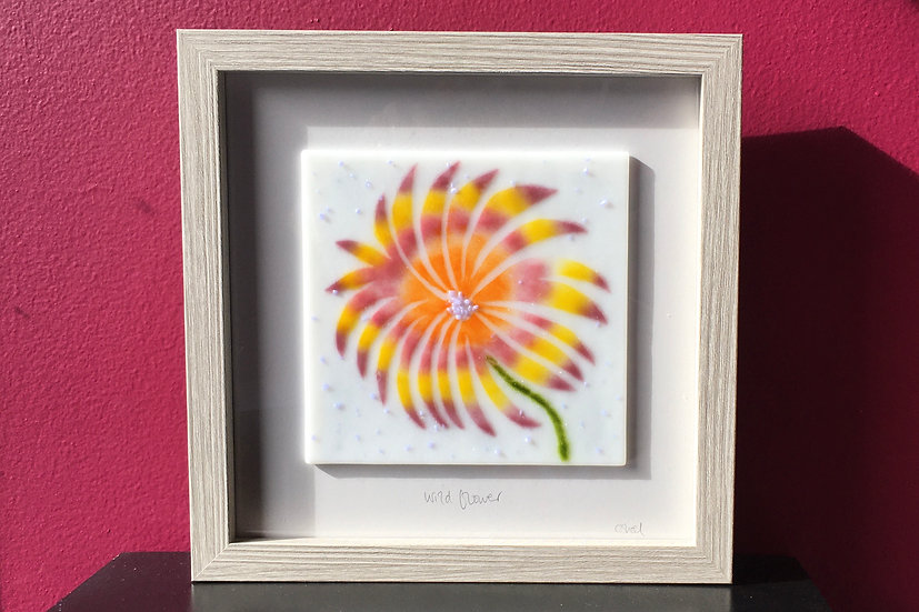 Wildflower Whirl art glass panel