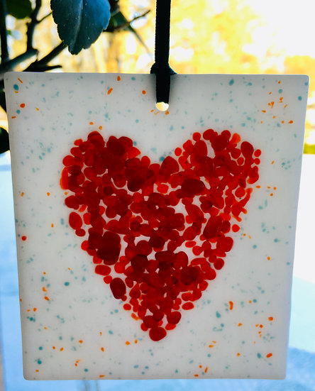 Jewelled Red Heart Dangle - white speckled base