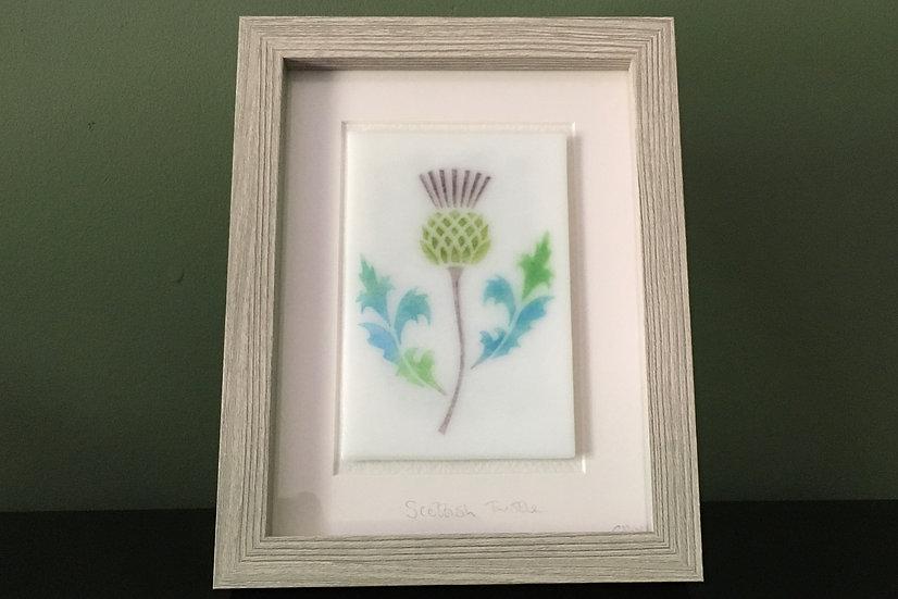 Scottish Thistle No.1 art glass panel