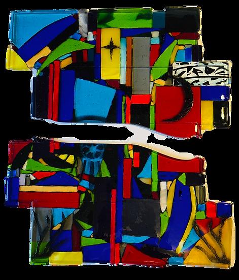 Universe Calling mosaic art glass diptych