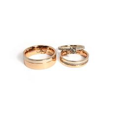 Komplekts no divu toņu zelta ar briljantiem līgavas gredzenos