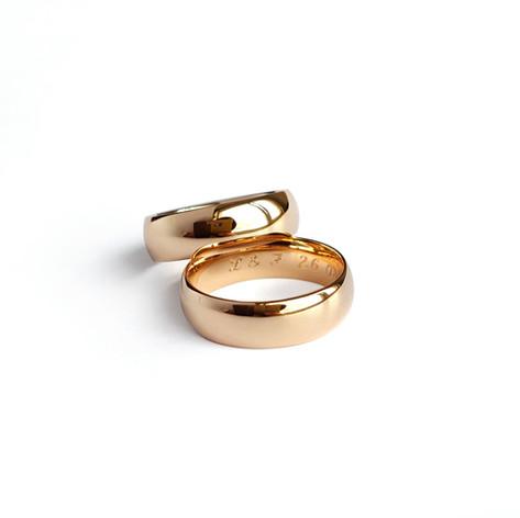 Klasiski laulību gredzeni ar sfēriskām jeb noapaļotām malām