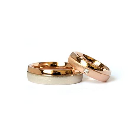 Laulību gredzeni ar vairāku toņu zeltu