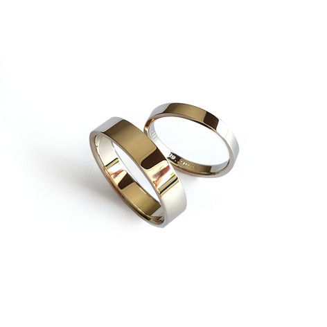 Klasiski laulību gredzeni ar taisnstūra malām