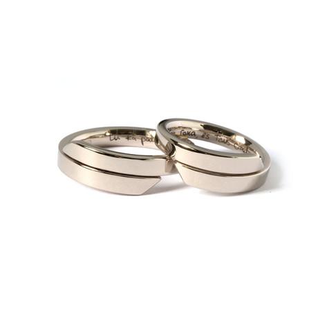 Baltā zelta neparastas formas laulību gredzeni