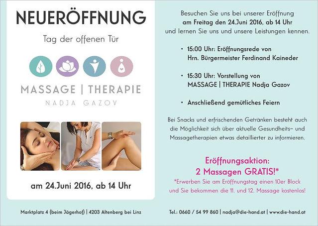Neueröffnung Massage Nadja Gazov Altenberg bei Linz - Heilmassage