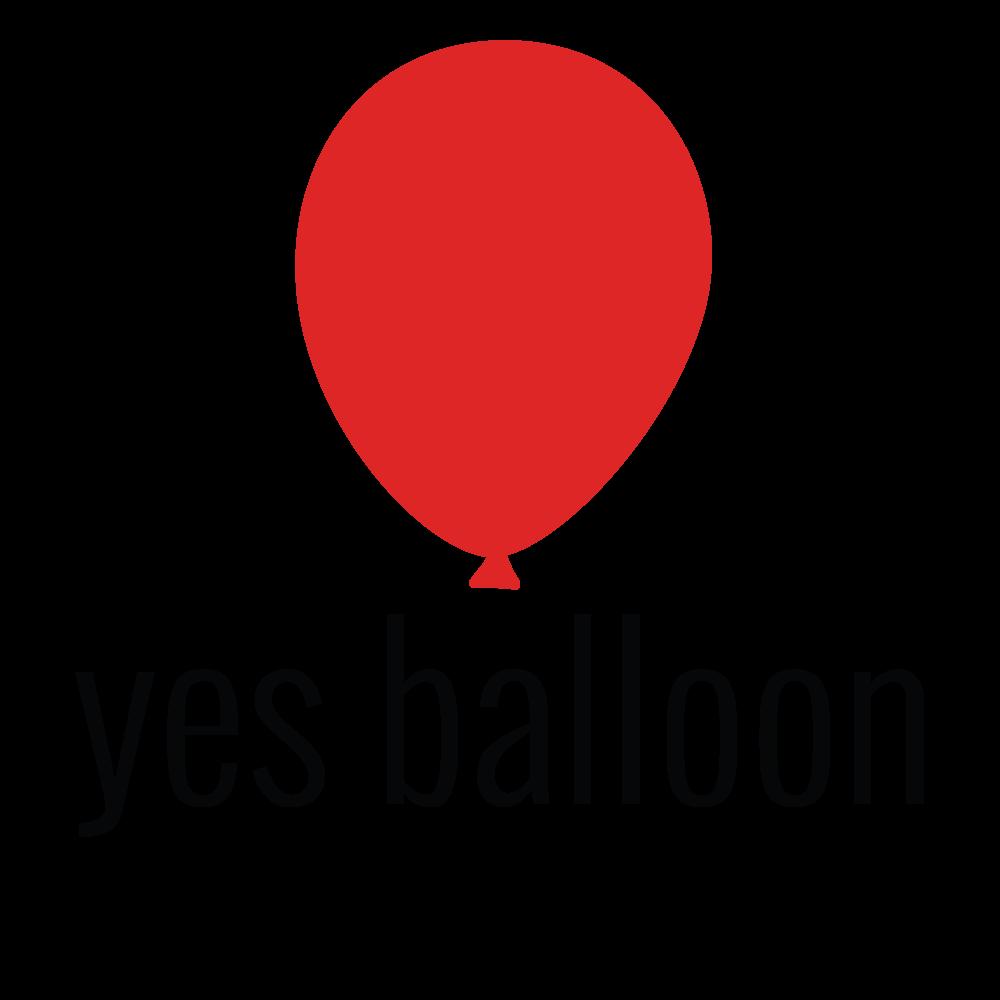 """Yes Balloon"" logo containing a red balloon"