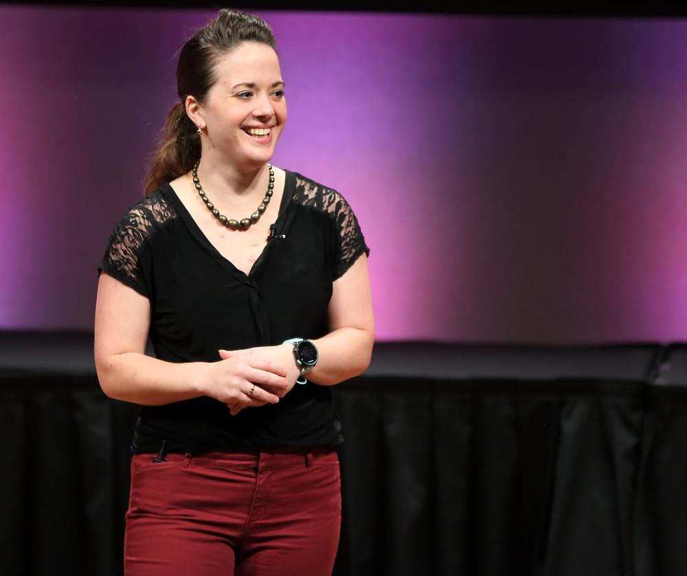 blog author Rachel Garmon speaking