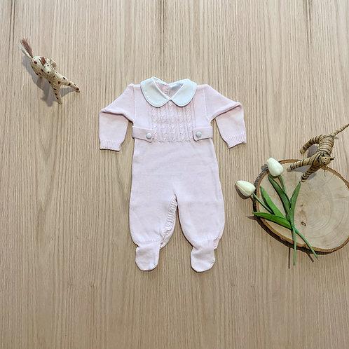 Mameluco para bebe, estilo español,  Enterizo hilo 100% algodón rosado
