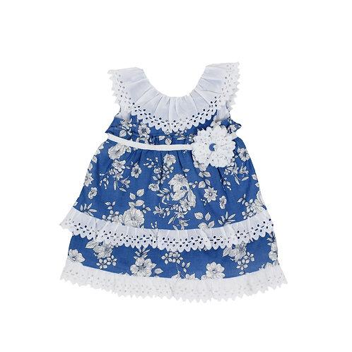 Vestido azul con encaje para niña estampado de flores