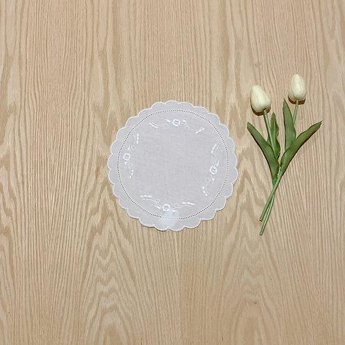Carpeta Redonda en lino diametro 22cmtrs