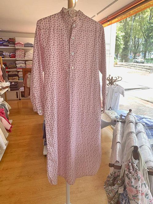 Pijama para mujer, cuello reondo, manga larga, batola, estampado floral rosado