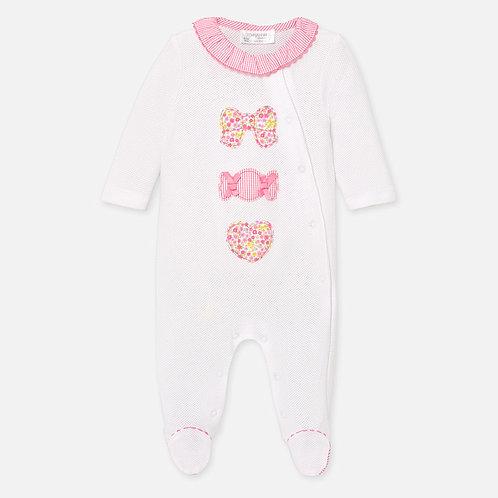 Pijama Enteriza para bebe color blanco y rosado