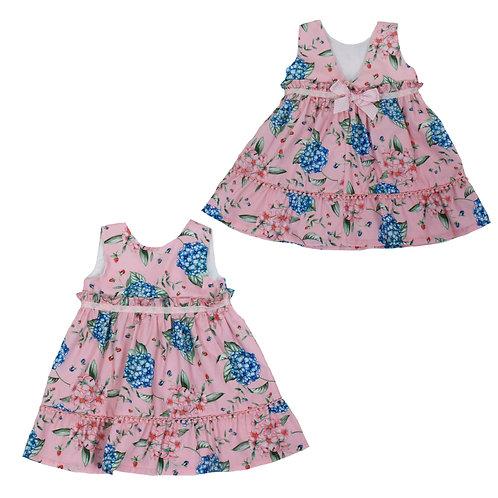 Vestido para niña rosado con flores azules