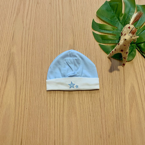 Gorro azul para bebe 100% algodón peruano bordado