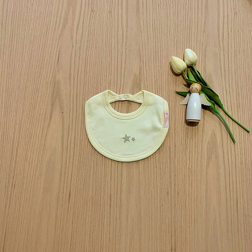 Babero para bebe 100% algodón peruano bordado color amarillo