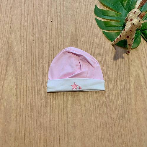 Gorro rosado para bebe 100% algodón peruano bordado