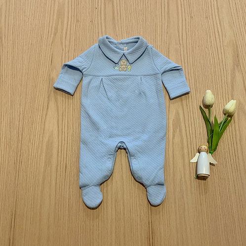 Enterizo para bebe bordado con pies, 100% algodón. Color azul