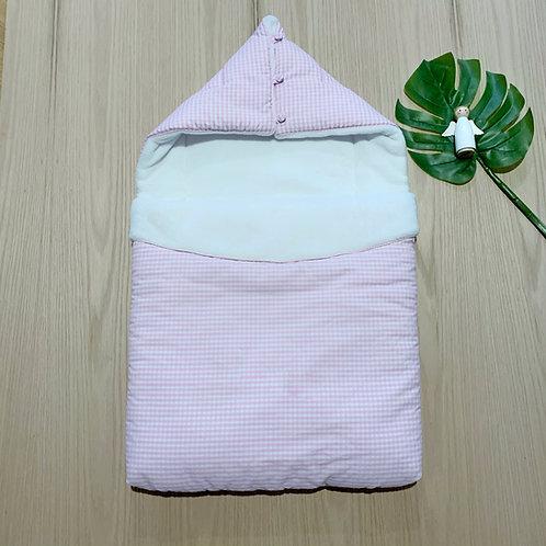 Sleeping Bag con Gorro para bebe 100% algodón, en Fleeze por dentro color rosado