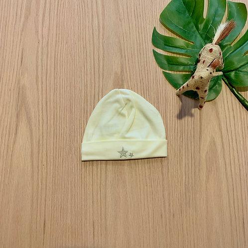 Gorro amarillo para bebe 100% algodón peruano bordado