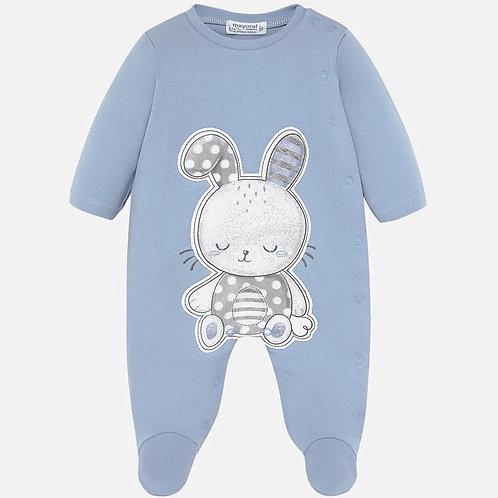 Pijama Enteriza para bebe color Azul, estampado conejo
