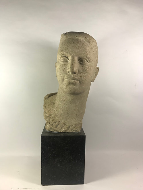 Hand Cut Bust In Granite Of A Young Man
