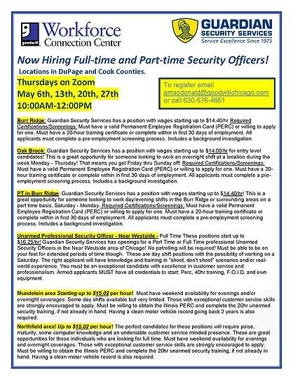 Guardian Security hiring poster May 2021