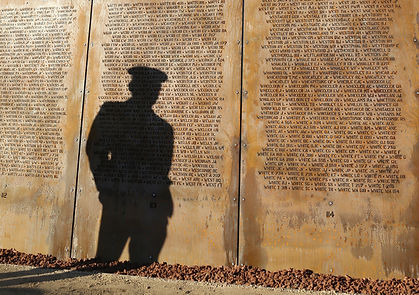 Shadow cast across The International Bomber Command Centre (IBCC) which commemorates the British, Commonwealth and other nations' aircrew of RAF Bomber Command who lost their lives in the Second World War.