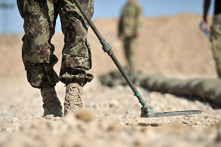 Members of the Afghan National Army (ANA) search a road for improvised explosive devices (IEDs)