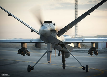 A Royal Air Force Reaper RPAS (Remotely Piloted Air System) at Kandahar Airfield in Afghanistan