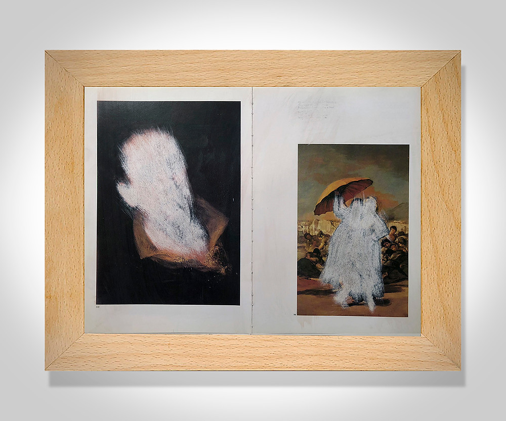 Siguiendo con el trabajo de despintar ahora le ha tocado a la pintura de Goya, 16 páginas de libro de arte intervenidas, despintadas parcialmente con papel de lija.