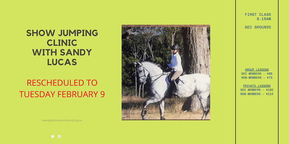 Show Jumping Clinic with Sandy Lucas - NEW DATE